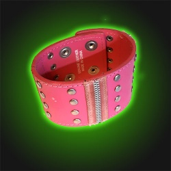 Pink Dome Studded - Leather Wristband